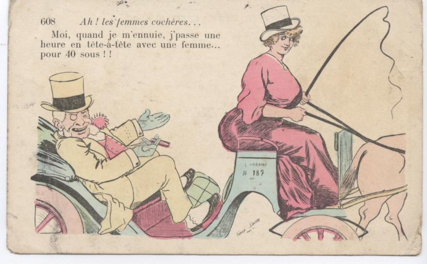 Postcard illustration of a male passenger and a lady horse cab driver