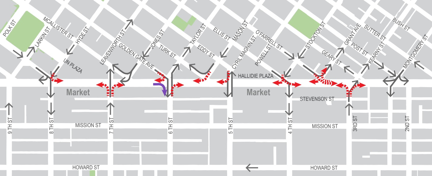 Map of Safer Market Street shows turn restrictions at intersections