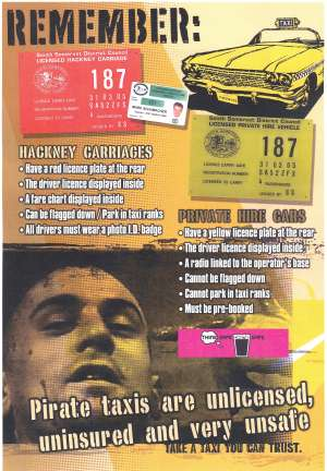 Poster with a lurid image of Travis Bickle warns that pirate taxis are unlicensed, uninsured and very unsafe