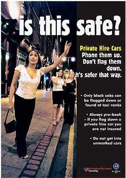 Poster of women hailing for a cab at night - UK Taxiwise campaign