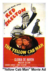 Red Skelton and Gloria De Haven on a movie poster for The Yellow Cab Man