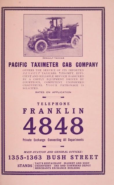 The ad shows a very early Renault taxicab.