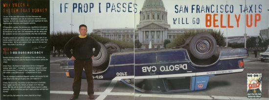 Campaign flyer warns that cabs will go belly up if the measure becomes law