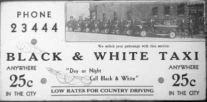 Regina ad from the 1930s shows a row of antique taxis with their drivers at attention