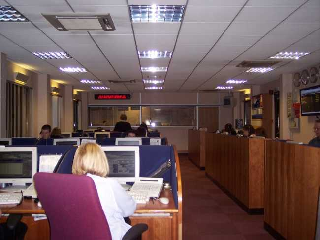 Photo inside a busy computerized call centre