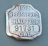 Photo of a metal chauffeur badge