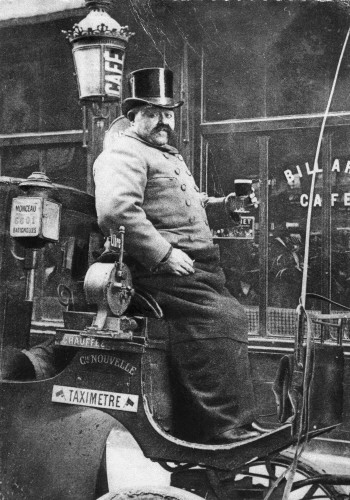 Photo of a Paris horse cab and early taximeter
