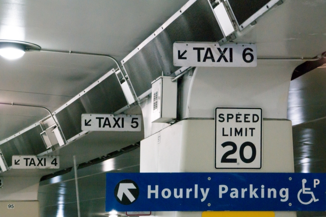 Signs at an SFO taxi stand