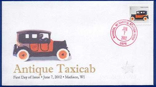 Photo of a postage stamp showing an antique toy taxi