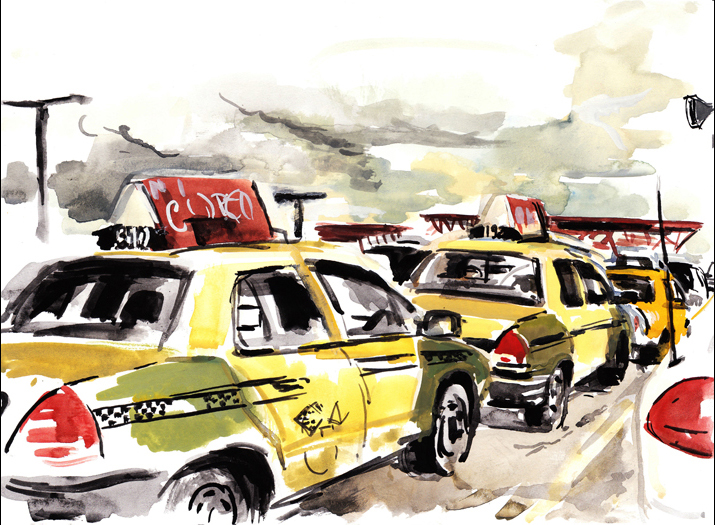 Colorful painting of taxis in a staging area