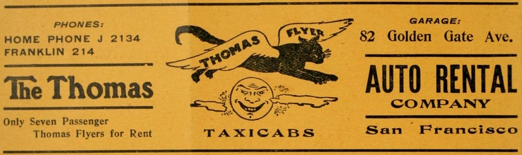 The striking graphic in the ad shows a black cat with extended wings leaping over an old-fashioned image of a smiling sun.