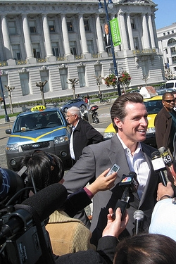 Photo of Mayor Gavin Newsom at a taxi-related press conference, click for a collection of taxi quotes and anecdotes for all occasions
