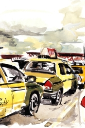 Colorful painting by Dmitry Samarov link to an entry on the Taxi-Library Culture page
