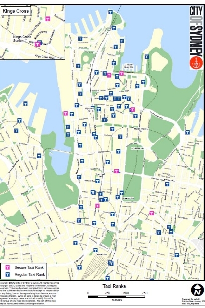 Map of cab stands in Sydney, click for the Taxi-Library collection on regulation of taxicabs