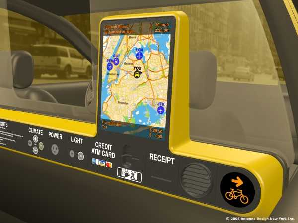 Illustration of a modern-looking redesigned taxi partition with built-in electronics for payment, climate control, etc