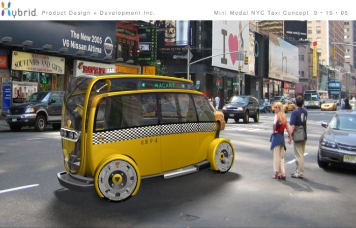 A woman casts a curious glance at a futuristic taxi as it passes by