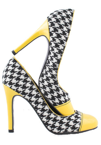 High heel shoes with yellow toe and heel, and a black-white checker design