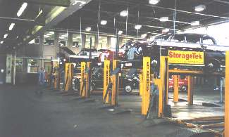 Photo of a PCO facility with cabs up on the lifts, by Terry Smythe