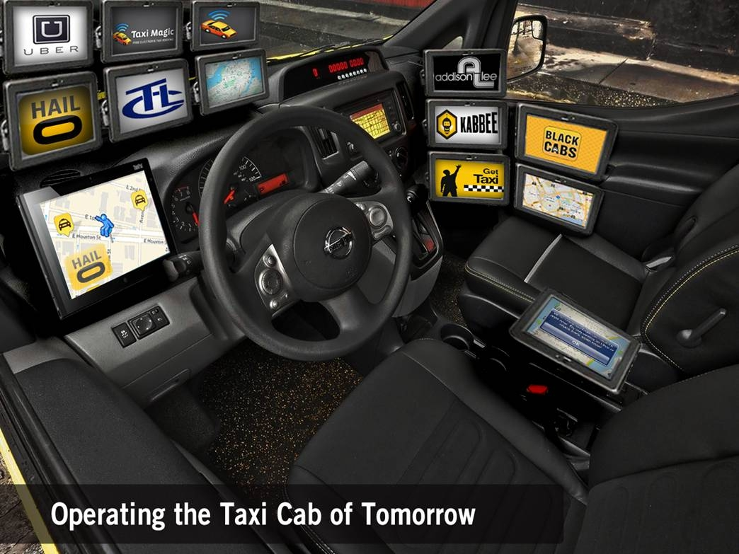 Taxi with many screens installed for different hailing apps
