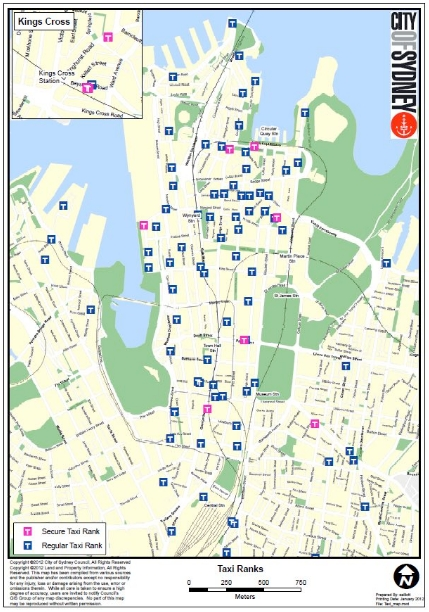 Map of secure and regular taxi stands