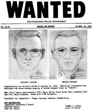 Wanted for murder poster with two artist sketches of a suspect