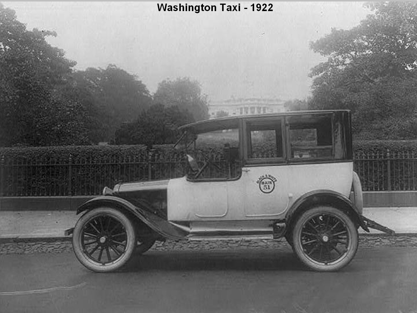 A cab in front of the White House