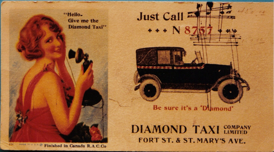 Ad for Diamond taxi service, 1920s
